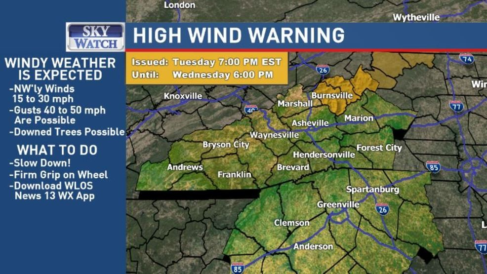 High Wind Warning issued for Avery, Yancey and Mitchell | WLOS