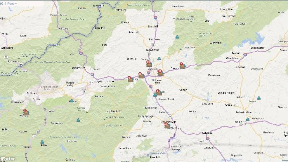Rutherford Electric Power Outage Map.Breaking News Power Outages Across Region Wlos