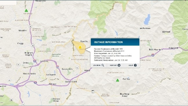 Rutherford Electric Power Outage Map.Overnight Power Outages In Buncombe Henderson Counties Wlos
